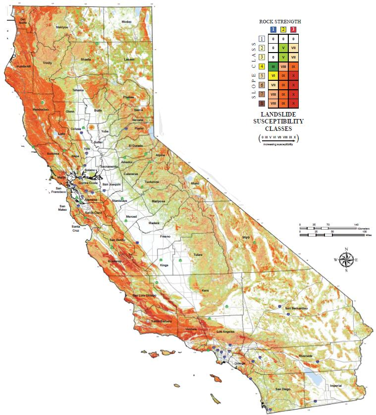 California Landslide Susceptibility map